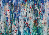 """""""Dots & Stripes"""", 2015, acrylic paint on paper, 50 x 70 cm."""