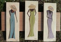 Triptyque africaines élégantes au chapeau (430/270)