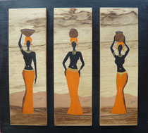 Tryptique femmes africaines en robe orange (500/450)