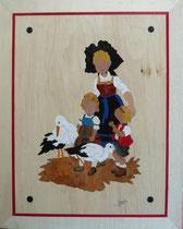 Alsacienne, enfant et cigogne (315/400)