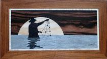 Pêcheur au filet sur clair de lune (350/195)