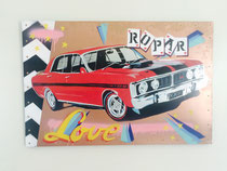 """ Love Ford 351 GT ""synthetic polymer paint on metal H 800 x W 1125 mm $ 650"