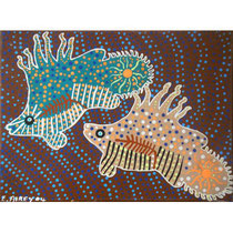 E Airey . Australia . 2004 2 Fish | acrylic on canvas h 295 x w 400 (mm) AU$200