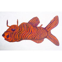 2 Horned Stripped Bullfish . 2008 oil on paper h 210 x w 300 (mm) AU$200