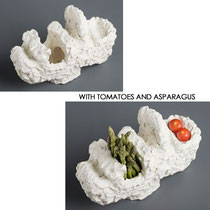 FAT LIPS . 2010 CLAY, ACRYLIC PAINT, TOMATOES AND ASPARAGUS H 270 X W 310 X D 120 MM AU$350
