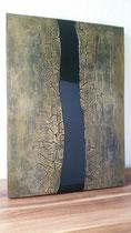 """""""Black River I"""" Strukturen und Resin auf Holz, 50 x 70 cm"""