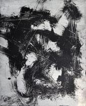 Monotypie 14, 40 x 30 cm, Druckfarbe auf Papier, 2018