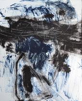 Monotypie 17, 40 x 30 cm, Druckfarbe auf Papier, 2018