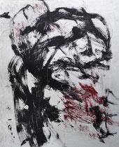Monotypie 13, 40 x 30 cm, Druckfarbe auf Papier, 2018