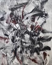 Monotypie 45, 40 x 30 cm, Druckfarbe auf Papier, 2018
