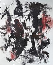 Monotypie 43, 40 x 30 cm, Druckfarbe auf Papier, 2018