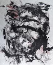 Monotypie 12, 40 x 30 cm, Druckfarbe auf Papier, 2018