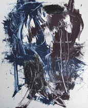 Monotypie 21, 40 x 30 cm, Druckfarbe auf Papier, 2018