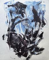 Monotypie 49, 40 x 30 cm, Druckfarbe auf Papier, 2018