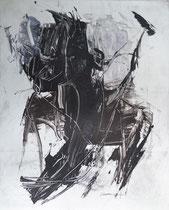 Monotypie 8 40 x 30 cm, Druckfarbe auf Papier, 2018