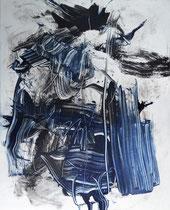 Monotypie 7, 40 x 30 cm, Druckfarbe auf Papier, 2018