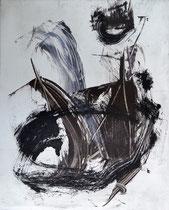 Monotypie 9, 40 x 30 cm, Druckfarbe auf Papier, 2018