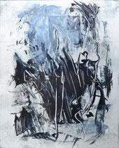 Monotypie 6, 40 x 30 cm, Druckfarbe auf Papier, 2018