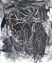 Monotypie 1, 40 x 30 cm, Druckfarbe auf Papier, 2018