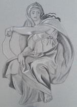 Die delphische Sybille in Hommage an Michelangelos gleichnahmiges Bild in der Sixtinischen Kapelle, Kohle auf Papier, 60 x 80 cm