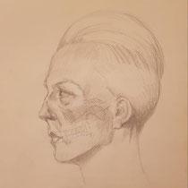 Portrait mit eingezeichnetem Schädel, Bleistift auf Papier