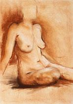 Akt, sitzend, Pastellkreide, 40x50