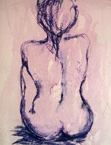 Akt, Rückenansicht, Pastellkreide, 40x50