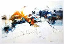 Die Elemente erspürt, Acryl auf Leinwand, 90x70