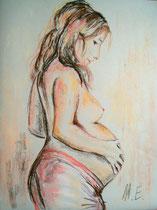 Schwangere, Pastellkreide, 50x60