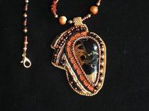 Savane . cabochon en pierre septaria collier assorti dos cuir