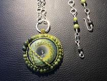 Combawa : cabochon de l'artiste verrier AKO, collier et fermoir faits main en argent massif 925, perles de jade