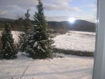 Garten im Winter und Blick in die Ferne