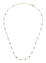 "EBNSRI-151Y: Rare multicolor Baby Akoya pearl necklace finished in 14k yellow gold (Akoya pearl- 3-4mm | 16-17.5"" adj.), $270"