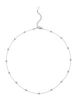 "EBNSRI-184: White Baby Akoya pearl necklace finished in 14k white gold (Akoya pearl- 3-3.5mm | 15.5-18"" adj.), $325"