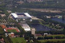 Sportpark mit WFV-Haus, Leichtathletik-Stadion, Margaretensee mit Wasserski-Anlage und MSV-Arena.