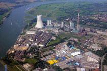 Blick zurück zum Kraftwerk und Nordhafen Walsum.