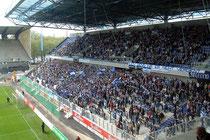 Mai 2004 - Noch steht die alte Tribüne des Wedau-Stadions, aber die neue Arena ist schon bezogen. Dazu Sonne und ein Sieg - was will man mehr?