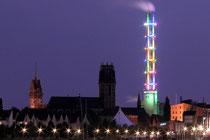 August 2005 - Vom 14. bis 24. Juli fanden die World Games 2005 statt. Die Stadtwerke ließen aus diesem Anlass den Turm in den World-Games-Farben erstrahlen.