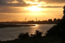Juli 2014 - Blick von Laar über den Rhein zu den beiden Rheinbrücken - Haus-Knipp-Eisenbahnbrücke und A42 - zwischen Baerl und Beeckerwerth in der Abendsonne.