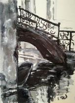 Under The Bridge , Tusche auf handgeschöpftem Papier 30x40cm