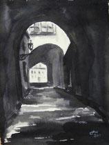 Alte Gasse in Prag,Tuschmalerei