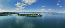 Luftaufnahme der Insel Mainau mit Blick auf den Überlinger See 190617-517