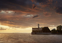 Langenargen Schloß Montfort im Sonnenuntergang 190802-156V