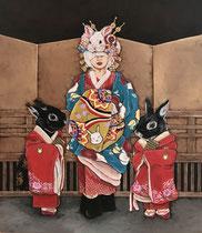 Japanese Bunny girl-yu-jo and kamuro- 72.7×60.6cm 2017