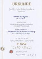 Goldmedaille 2021 im Honig Wettbewerb
