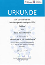 Ehrenpreis für hervorragende Honigqualität in GOLD 2021 (nur ein Mal in Thüringen)
