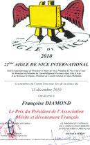 Diplome du 22 éme Aigle de Nice