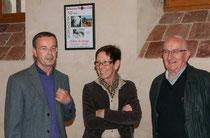 Les 3 membres fondateurs: de g à d : Michel Gairaud, Jocelyne Ducoin et Gérard Dorne. Photo prise en avril 2014, 30 ans après !