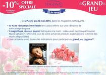 Création de fleurs en papier pour  LOGONA-Bleu Vert Marque de cosmétiques bio