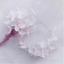 atelier, Hortensia  mini-bouquet et couronnes de fleurs en papier crépon